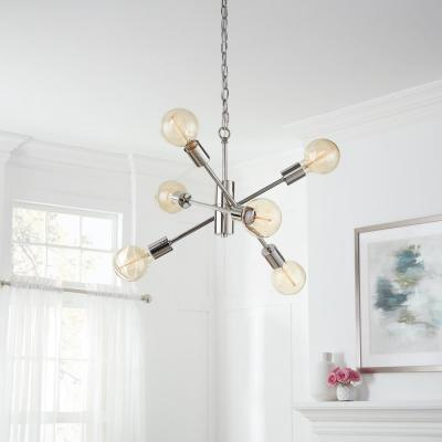 Fife 6-Light Polished Nickel Sputnik Chandelier with G30 Vintage Bulb