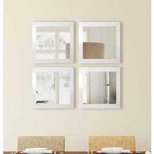 15.5 inch x 15.5 inch Glossy White Square Wall Mirrors (Set of 4) by