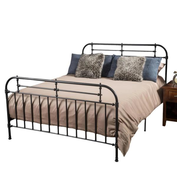 Noble House Dark Charcoal Gray Iron King Bed Frame