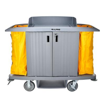 3-Shelf PVC Janitorial Platform Cleaning Cart with 2 Yellow Vinyl Bags