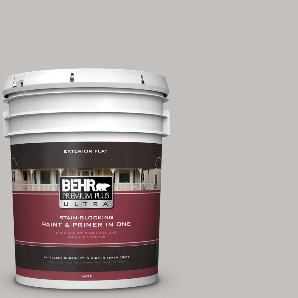 BEHR Premium Plus Ultra 5-gal. #PPU18-10 Natural Gray Flat Exterior Paint