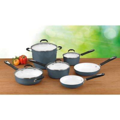 10-Piece Elements Ceramica Polar White Non-Stick Cookware Set with Lids