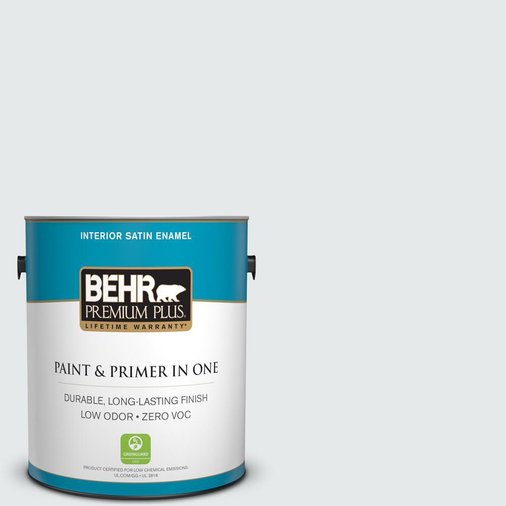 BEHR Premium Plus 1 gal. #PWN-44 Bay Breeze Satin Enamel Zero VOC Interior Paint and Primer in One