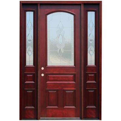 64 in. x 96 in. 3/4 Arch Lite Stained Mahogany Wood Prehung Front Door w/ 6 in. Wall Series and 12 in. Sidelites