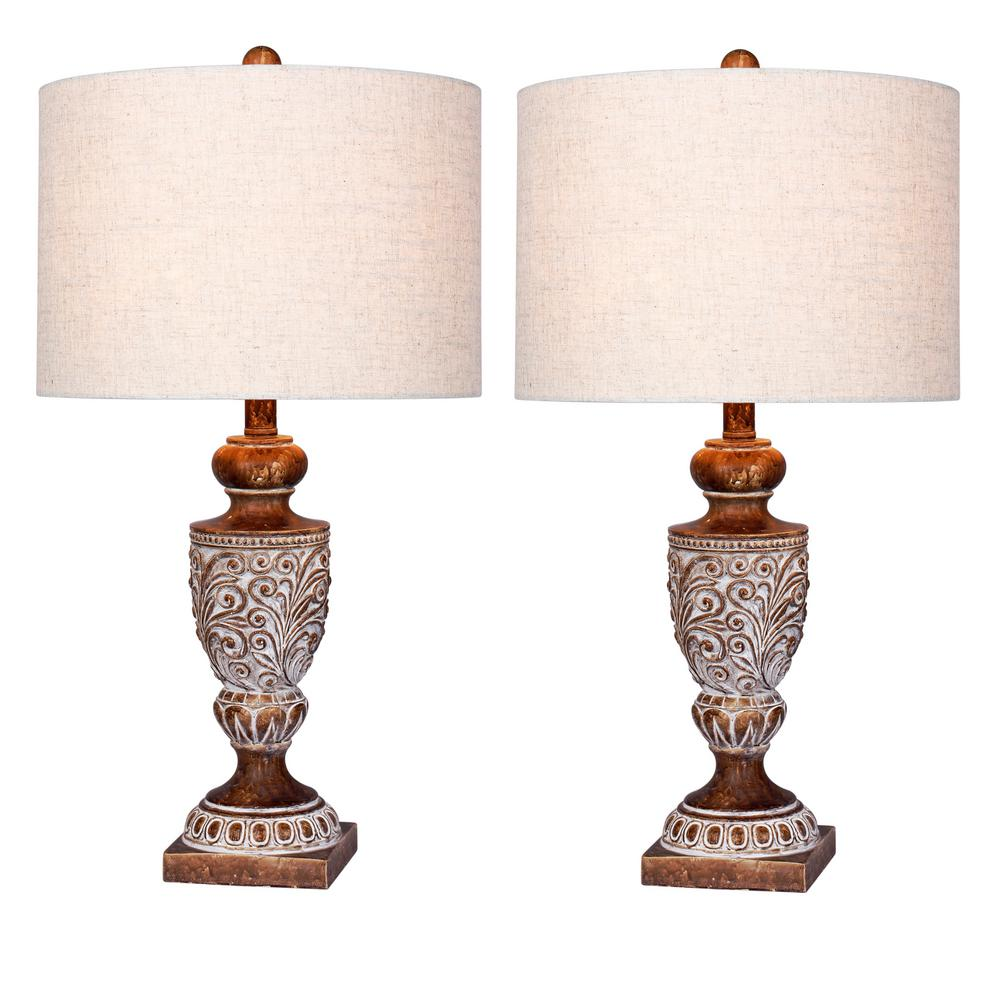Fangio Lighting 26.5 in. Antique Brown Distressed, Decorative Urn Resin Table Lamp (2-Pack)