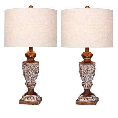 26.5 in. Antique Brown Distressed, Decorative Urn Resin Table Lamp (2-Pack)