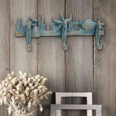 11 in. x 5 in. Worn Turquoise Pat in.a Cast Iron Seahorse Wall Hooks
