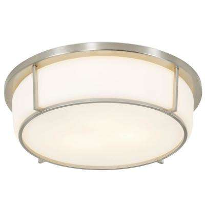 Smart 2-Light Satin Nickel with Opal Glass Flushmount