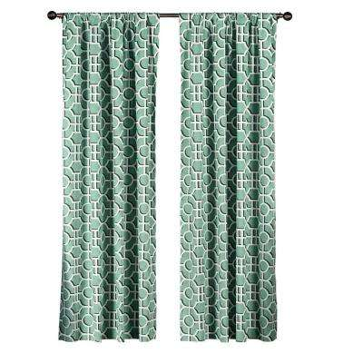Semi-Opaque Lenox 100% Cotton Extra Wide 96 in. L Rod Pocket Curtain Panel Pair, Teal (Set of 2)