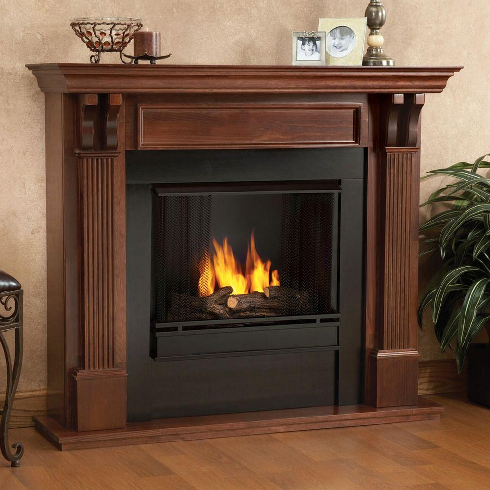 Real Flame Ashley 48 In Gel Fuel Fireplace In Mahogany
