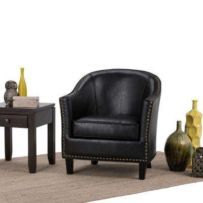Kildare Distressed Black Bonded Leather Arm Chair