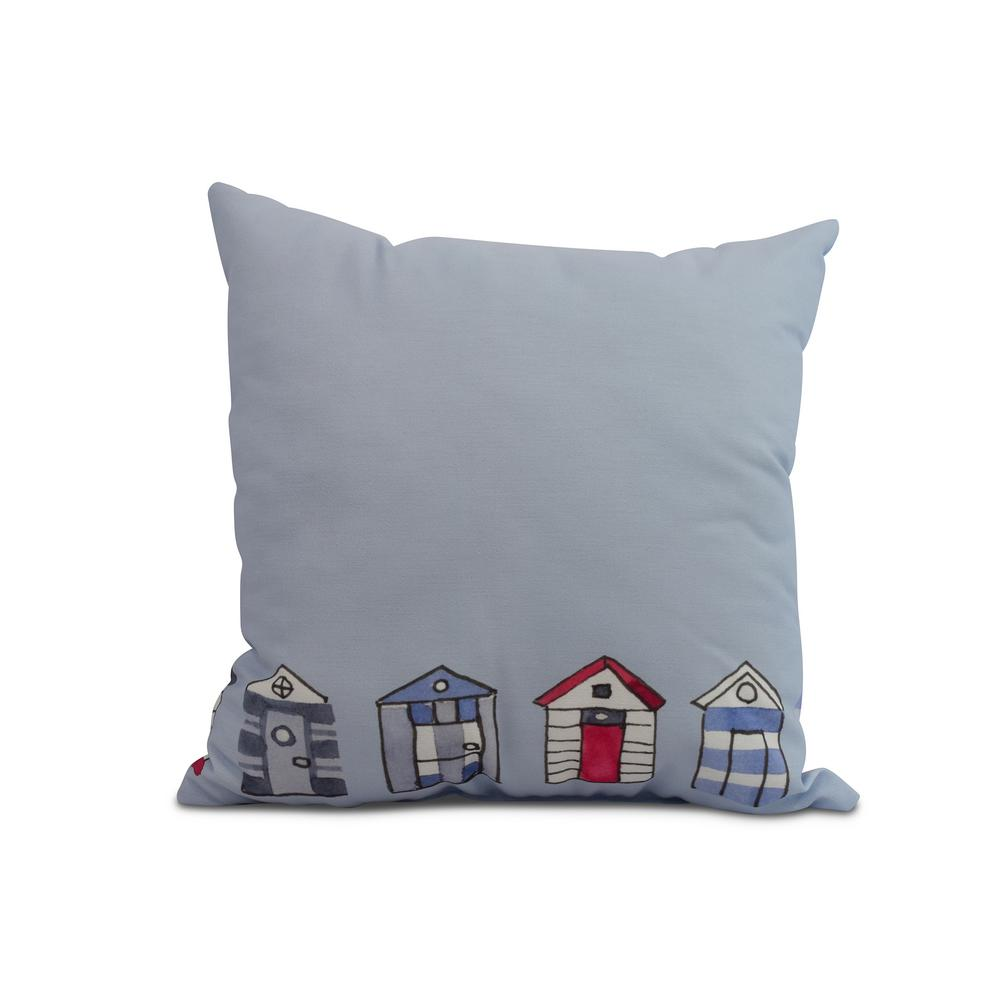 Beach Huts 18 in. Light Blue Decorative Nautical Throw Pillow