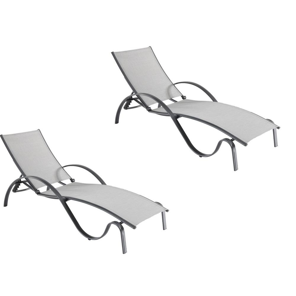 Charmant Hampton Bay Commercial Grade Aluminum Light Gray Outdoor Chaise Lounge With  Sunbrella Augustine Alloy Sling (