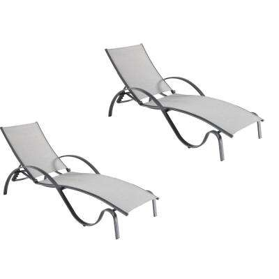 Commercial Grade Aluminum Light Gray Outdoor Chaise Lounge with Sunbrella Augustine Alloy Sling (2-Pack)