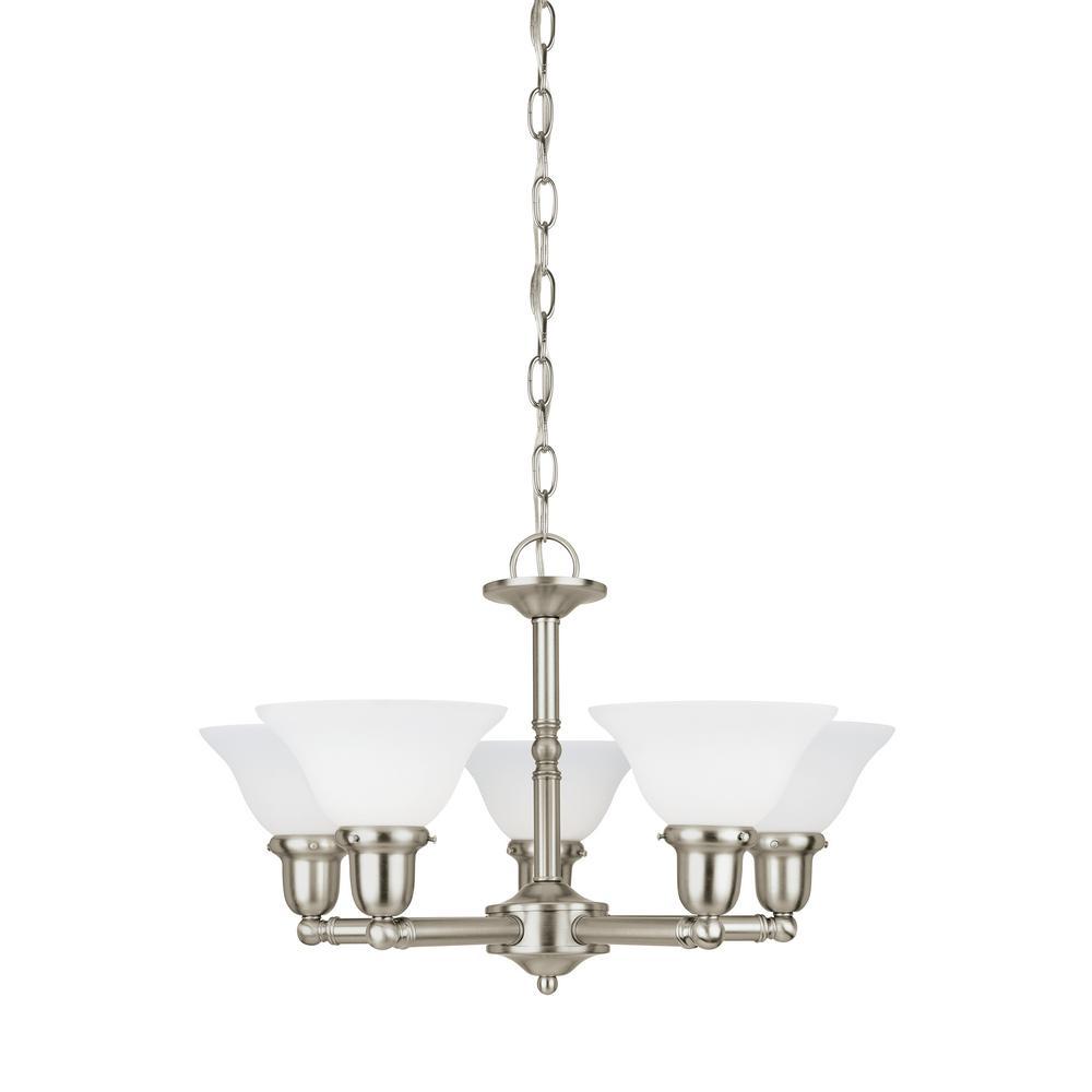 3 Light Led Ceiling Pendant Brushed Nickel Contemporary: Sea Gull Lighting Sussex 5-Light Brushed Nickel Chandelier