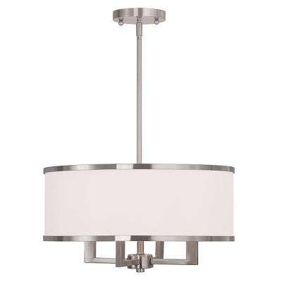 Park 4-Light Brushed Nickel Chandelier with Hand Crafted Off-White Fabric Hardback Shade