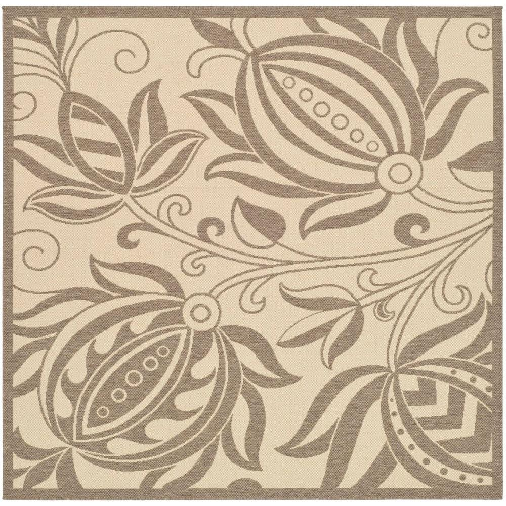 Safavieh Courtyard Natural/Brown 6 ft. 7 in. x 6 ft. 7 in. Indoor/Outdoor Square Area Rug