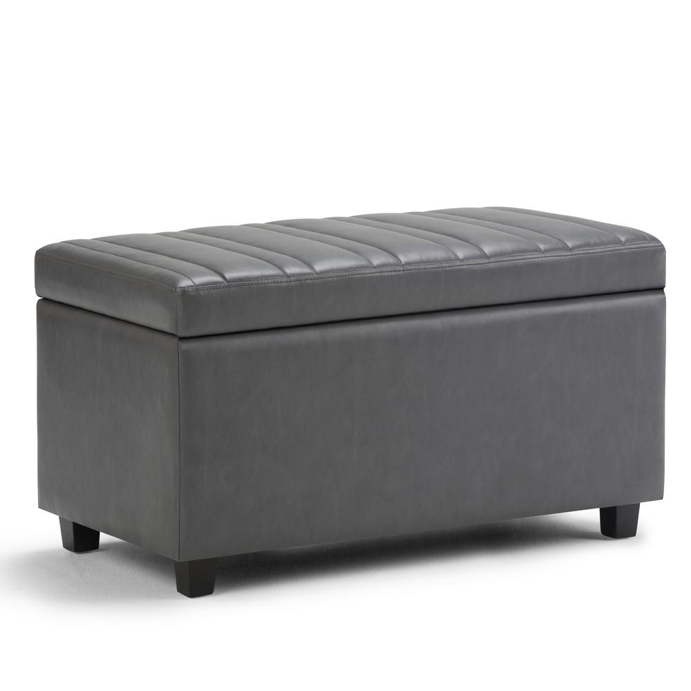 Simpli Home Darcy Stone Grey PU Faux Leather Storage Ottoman  sc 1 st  The Home Depot & Simpli Home Darcy Stone Grey PU Faux Leather Storage Ottoman-AXCOT ...