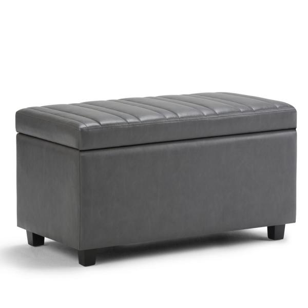 Simpli Home Darcy 34 in. Contemporary Storage Ottoman in Stone Grey