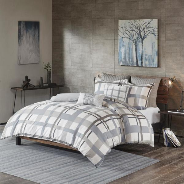 Camila Grey 26 in. x 26 in. Cotton Quilted Euro Sham