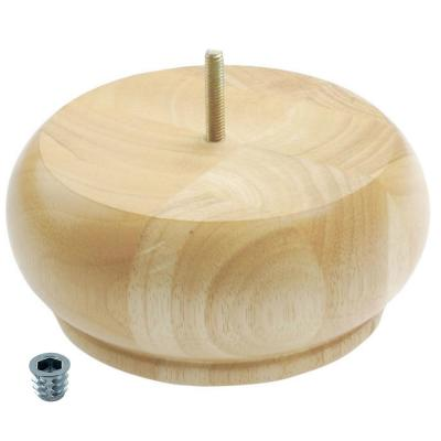 3 in. x 6-3/4 in. Unfinished Solid Hardwood Round Bun Foot