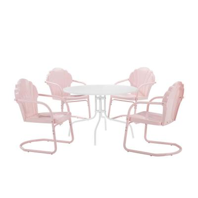 Tulip Pink 5-Piece Metal Round Outdoor Dining Set