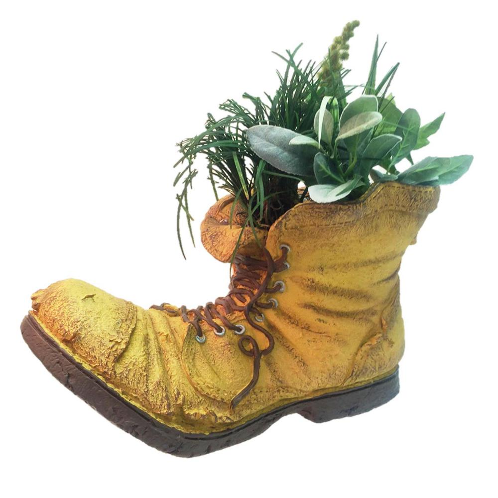 Old Boot Planter Garden Statue (Holds