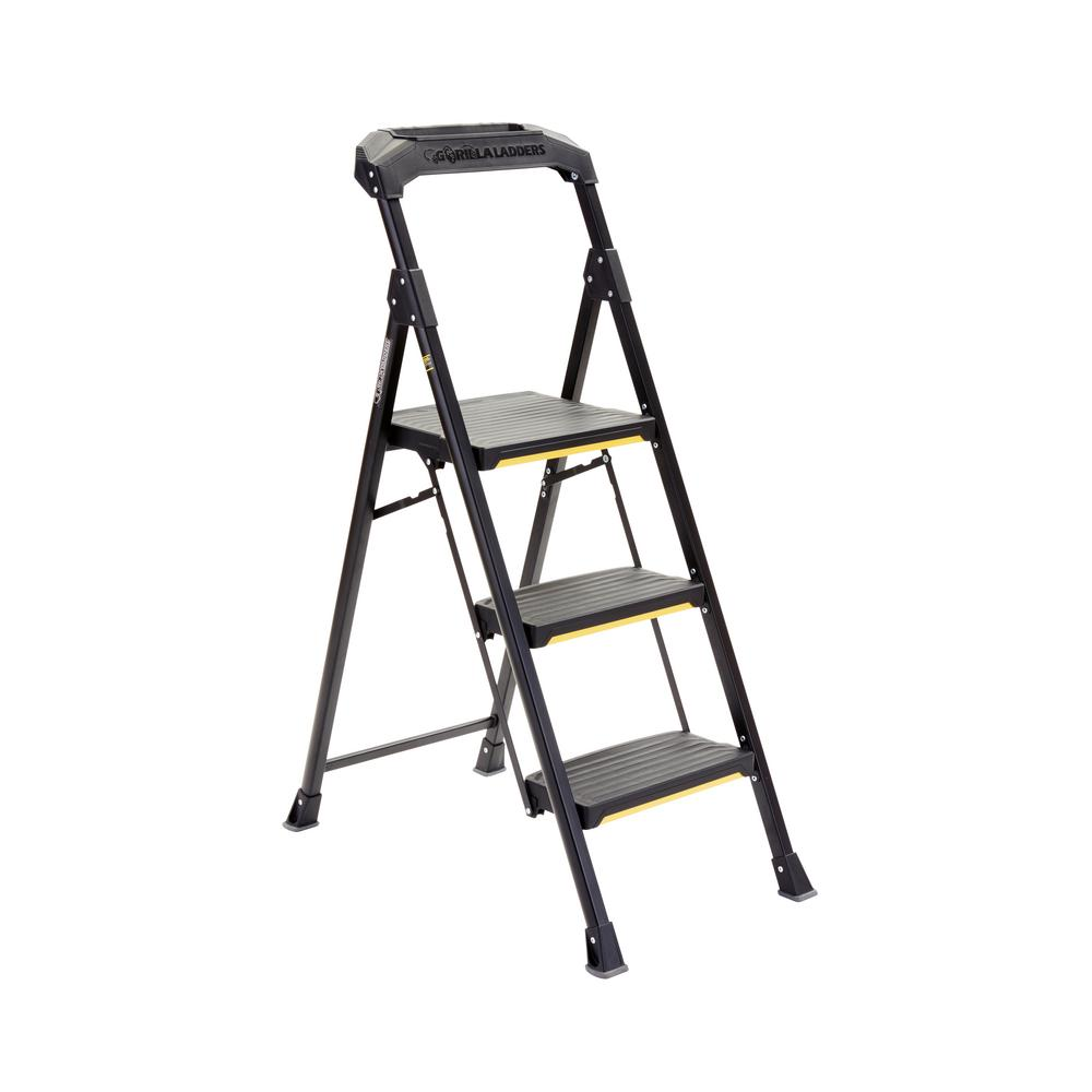 Gorilla Ladders 3 Step Steel Stool With 300 Lbs Load Capacity Type Ia