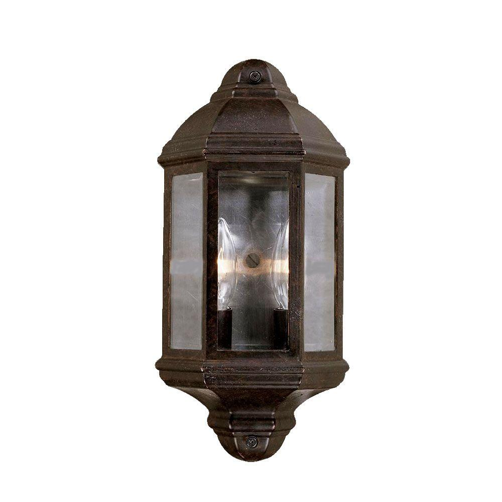 Pocket Lantern Collection 2-Light Marbleized Mahogany Outdoor Wall-Mount Fixture