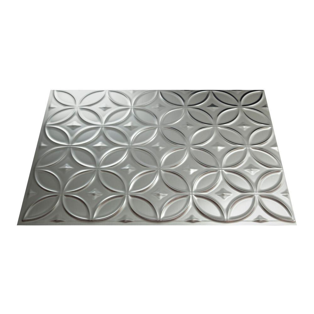 Rings 18 in. x 24 in. Brushed Aluminum Vinyl Decorative Wall Tile Backsplash 18 in. sq. ft. Kit