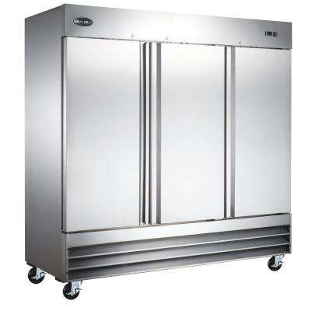 81 in. W 72 cu. ft. Three Door Commercial Refrigerator in Stainless Steel