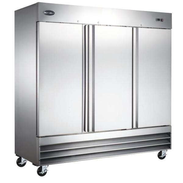 72.0 cu. ft. Three Door Commercial Reach In Upright Freezer in Stainless Steel