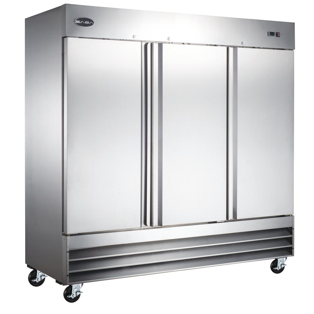SABA 81 in. W 72 cu. ft. Three Door Commercial Reach In  Upright Refrigerator in Stainless Steel