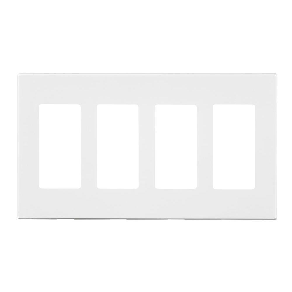 Leviton Decora 4 Gang Screwless Wall Plate White R02
