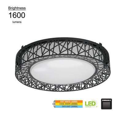 Birdsnest Style 15 in. Round Black 100 Watt Equivalent Integrated LED Flushmount with Color Temperature Changing Feature