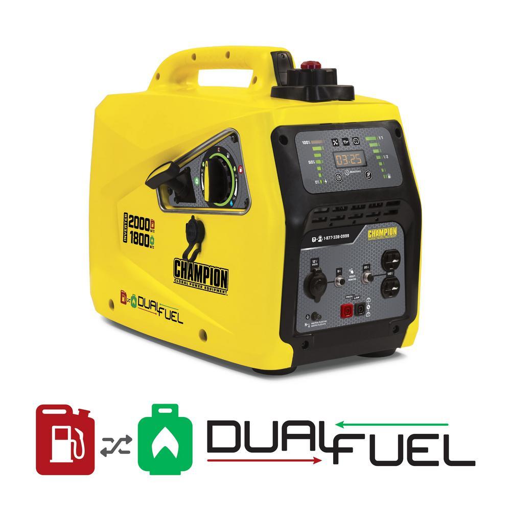 2000-Watt Dual Fuel Powered Recoil Start Stackable Portable Inverter Generator