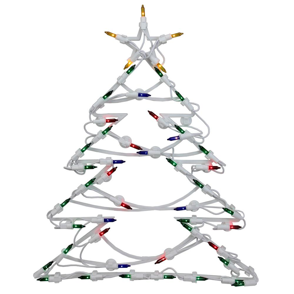 18 in. Christmas Lighted Tree Window Silhouette Decoration (4-Pack)