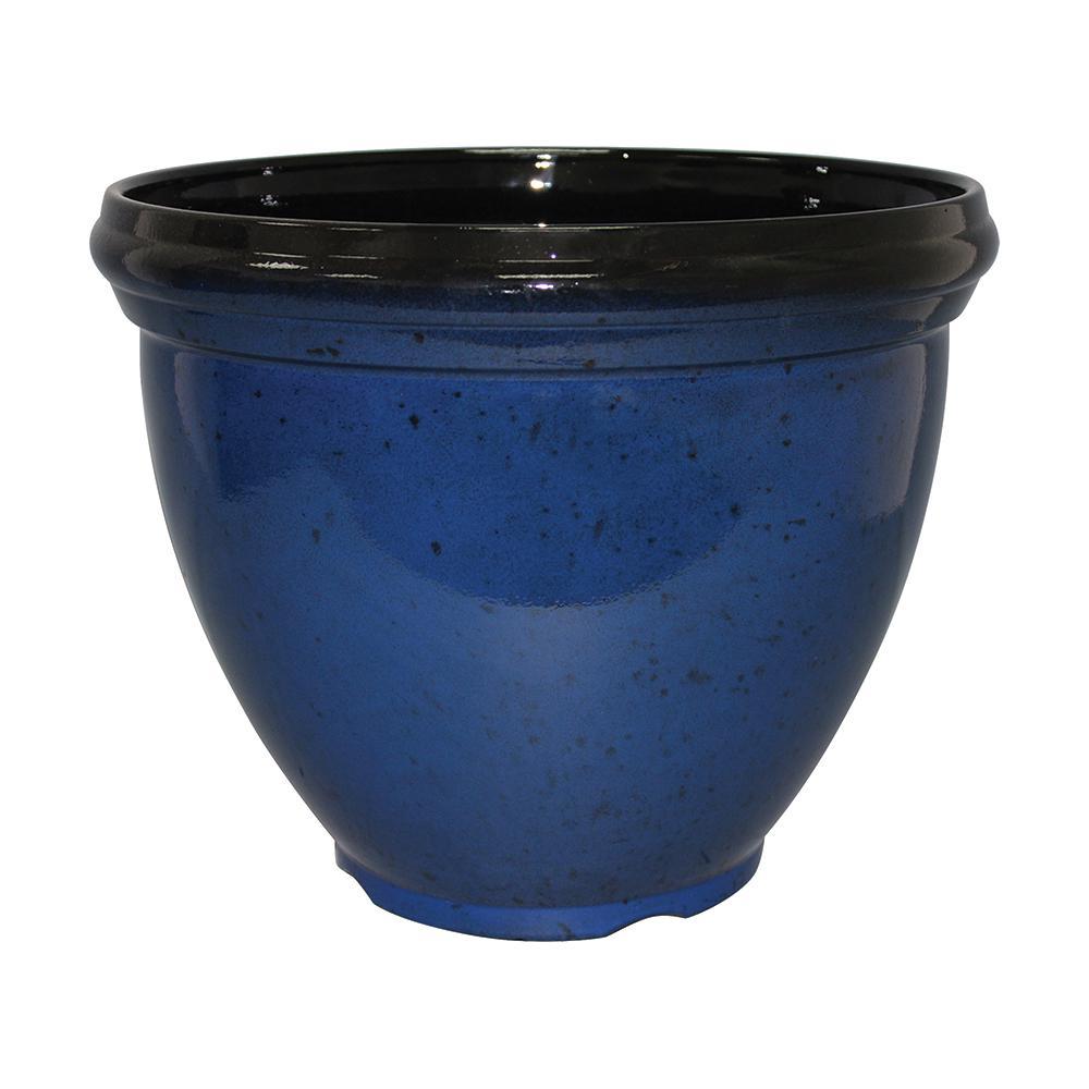 Southern Patio Heritage 18 in. Dia  Monaco Blue Resin Planter