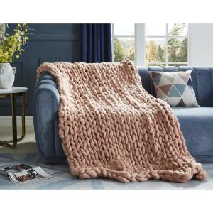 Berenice 40 in. x 60 in. Blush Throw Blanket Cozy 100% Polyester