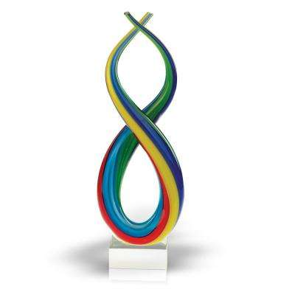 11 in. H Spectrum Murano Style Blown Art Glass Rainbow Centerpiece on Base