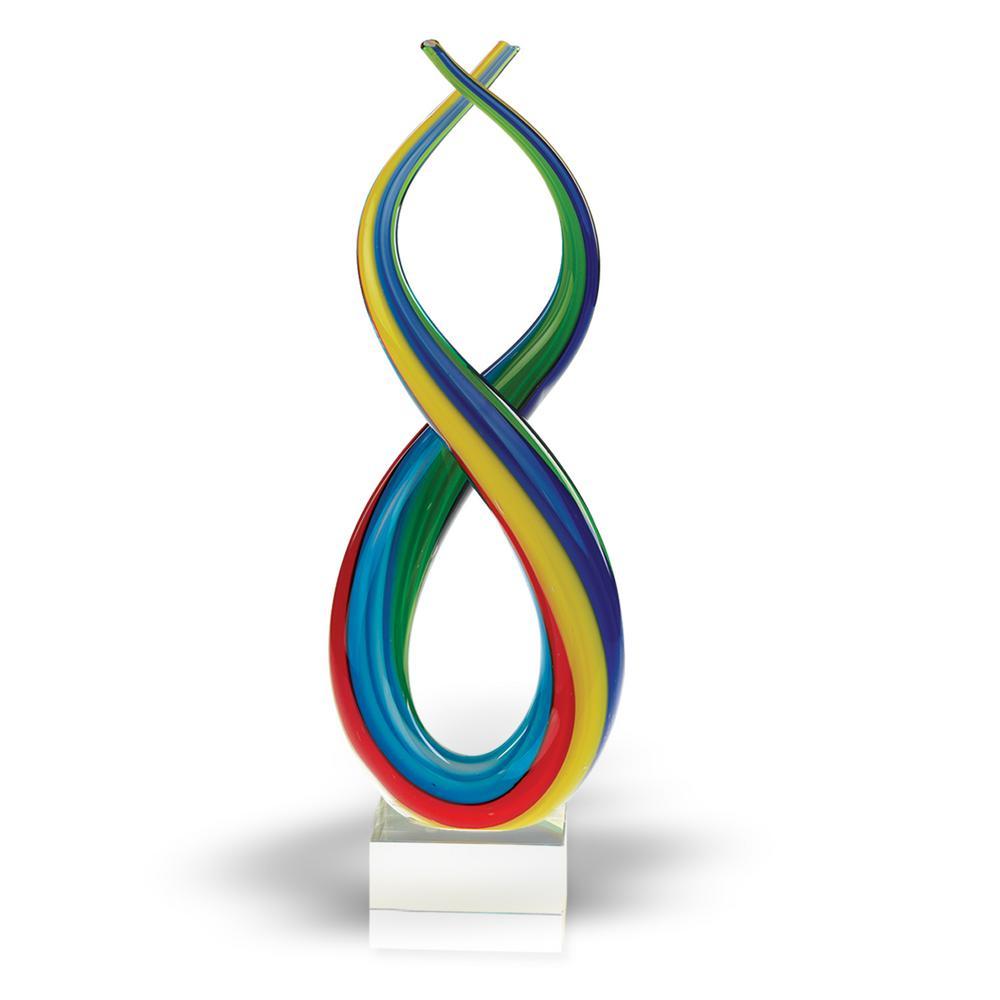 Spectrum Murano Style Blown Art Glass Rainbow Abstract Centerpiece on Base 14 in. Tall