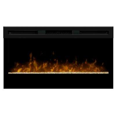 34 in. Linear Wall Mount Electric Fireplace in Black