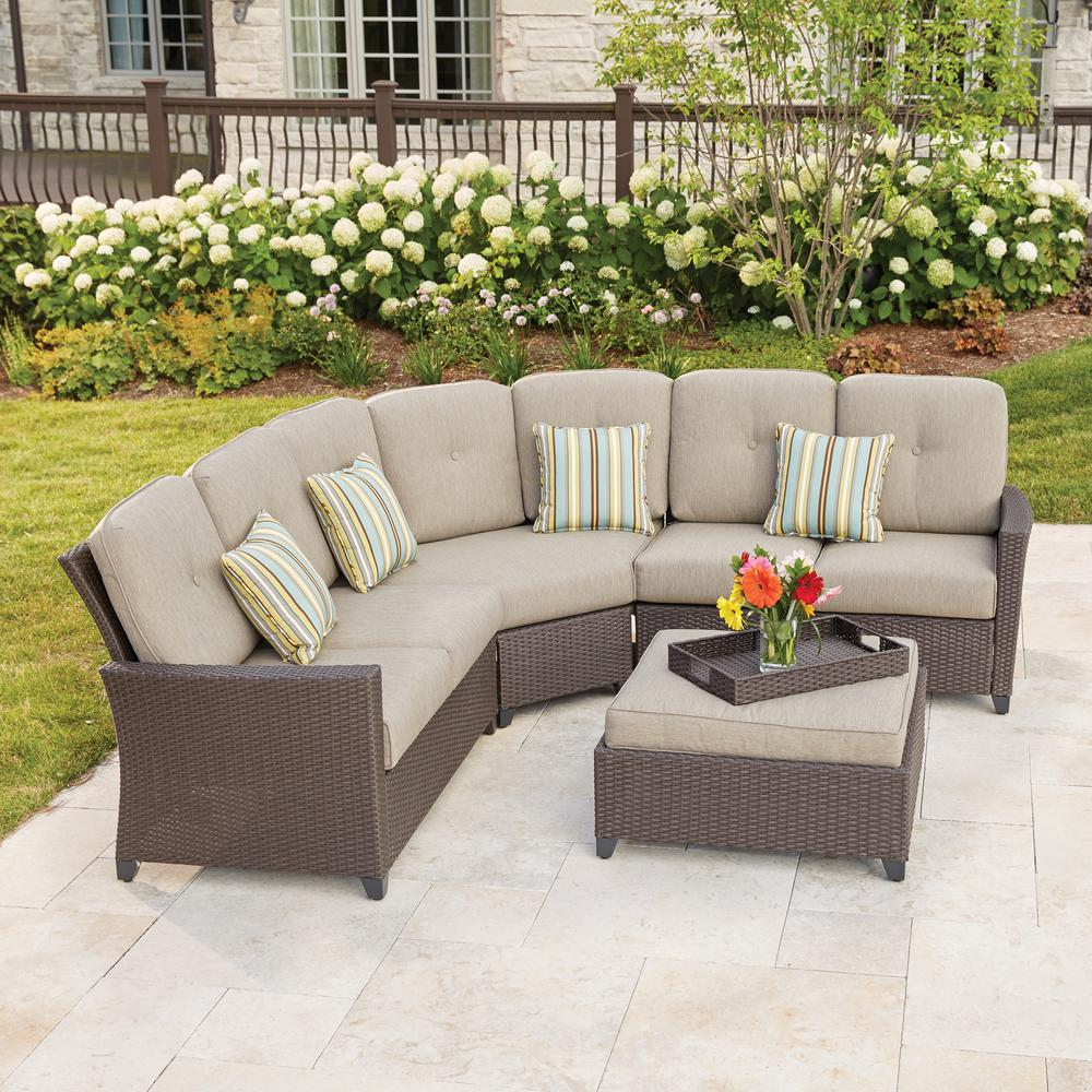 Hampton Bay Tacana 4-Piece Wicker Patio Sectional Set with Beige Cushions