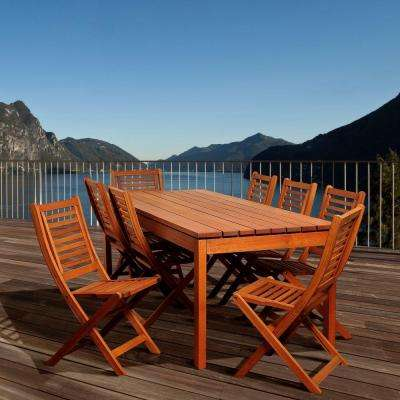 Palmer 9-Piece Eucalyptus Rectangular Patio Dining Set