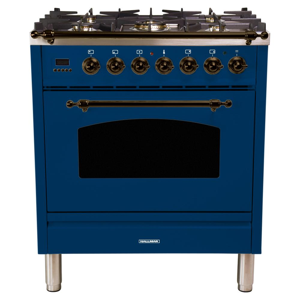 Hallman 30 in. 3.0 cu. ft. Single Oven Dual Fuel Italian Range with True Convection, 5 Burners, Bronze Trim in Blue