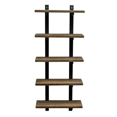 Pomona 20 in. W Wall Mounted 5-Tier Bath Shelf with Metal Frame and Solid Wood