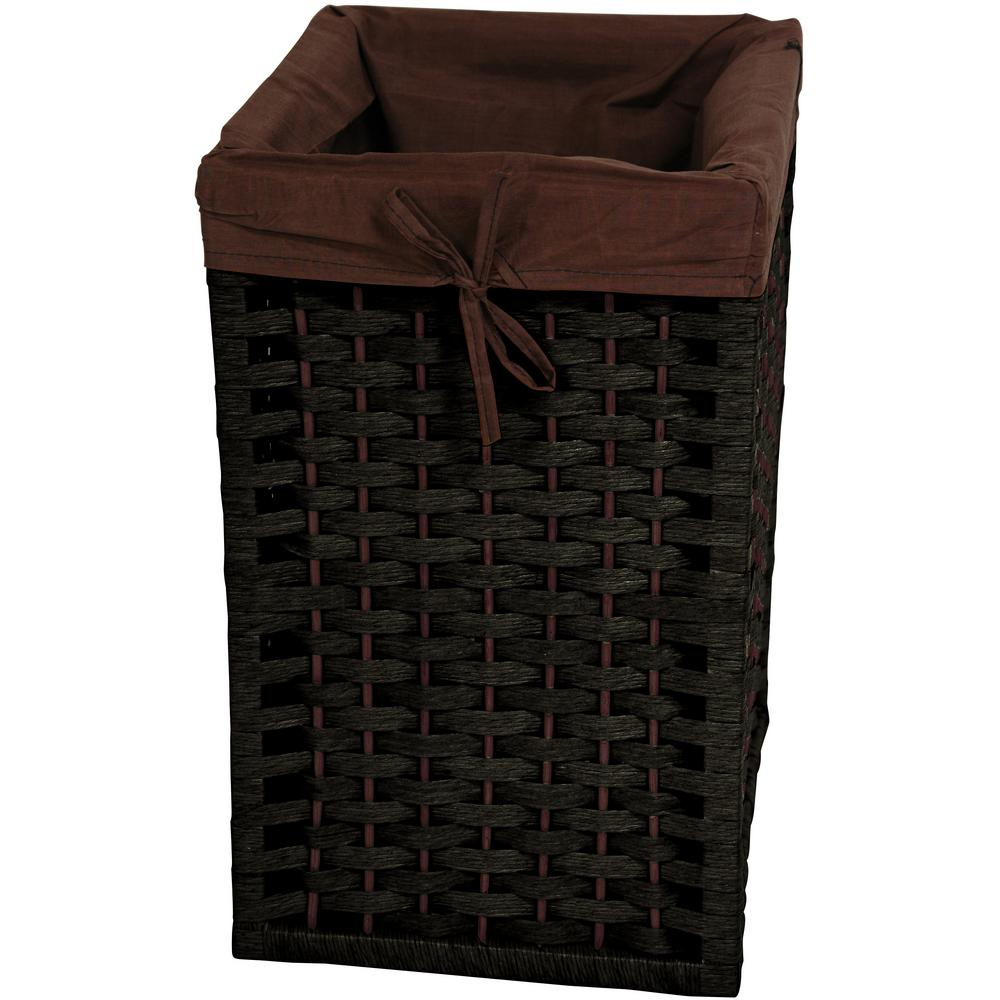 Black Natural Fiber Basket Trunk