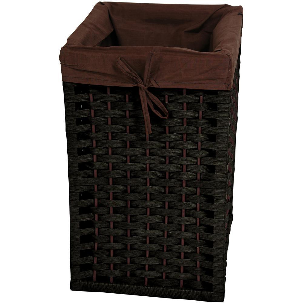 Black Natural Fiber Basket Trunk