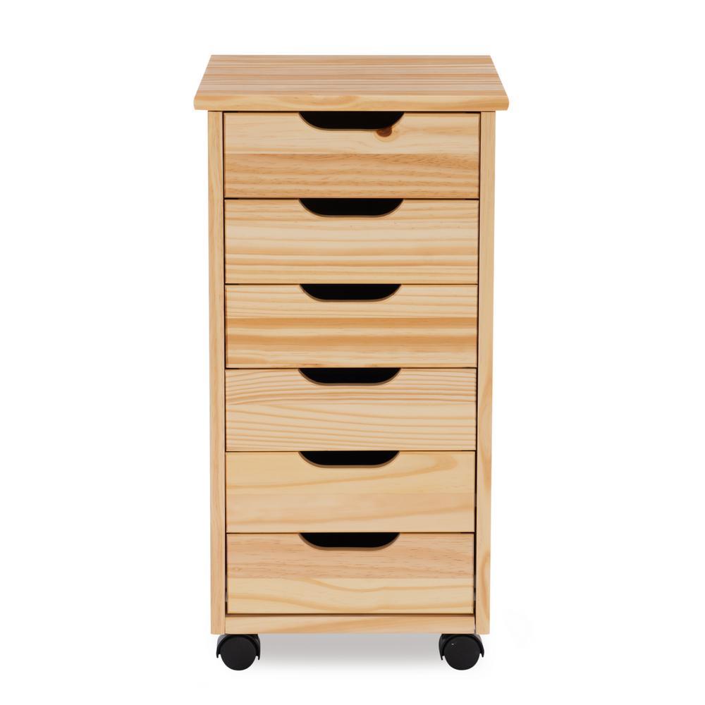 McLeod Natural 6-Drawer Rolling Storage Cart