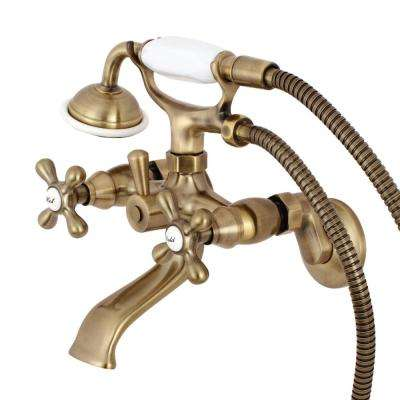 Tub Wall-Mount Adjustable Centers 3-Handle Claw Foot Tub Faucet with Hand Shower in Vintage Brass